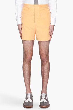 Thom Browne Orange cut off corduroy shorts