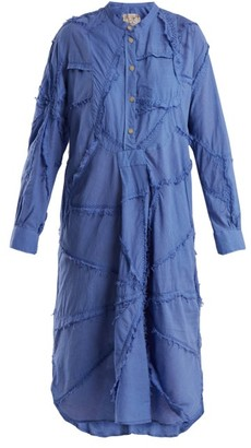 By Walid - Patchwork Cotton Shirtdress - Womens - Blue