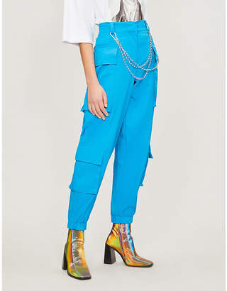 Jaded London Chain-detail high-rise cotton tapered trousers