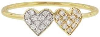 Sydney Evan Small Diamond Double Heart Ring