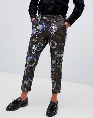 Asos Design DESIGN skinny crop smart trouser in brown with floral flocking