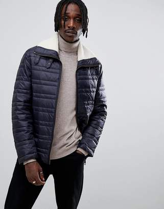 Antony Morato quilted jacket in navy with borg collar