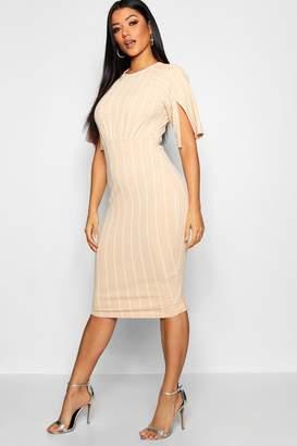 boohoo Stripe Split Sleeve Detail Wiggle Sleeve Midi Dress