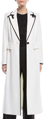 Escada One-Button Wool Coat w/ Bow Details & Satin Piping