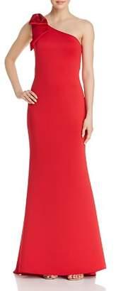 Aqua One-Shoulder Scuba Crepe Gown - 100% Exclusive