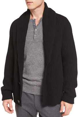 Vince Ribbed Wool-Blend Cardigan $375 thestylecure.com