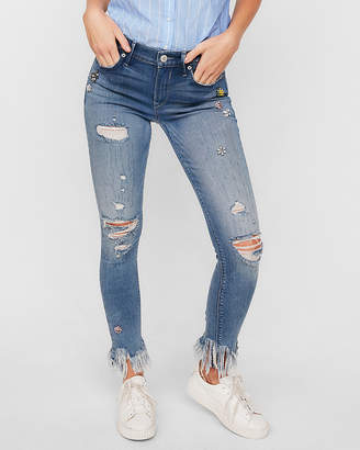 Express Petite Mid Rise Embellished Stretch Ankle Jean Leggings