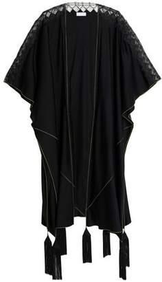 Vionnet Lace-Paneled Tasseled Two-Tone Silk-Blend Cape
