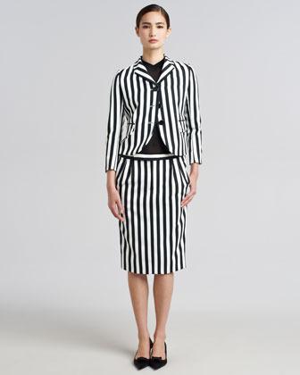 Marc Jacobs Striped Techno Twill Pencil Skirt