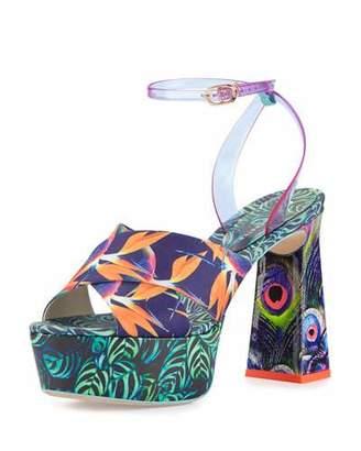 Sophia Webster Effie Tropical-Print Platform Sandal, Navy/Green