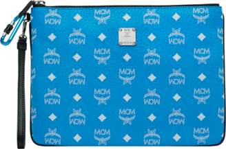 MCM Wristlet Zip Pouch In White Logo Visetos