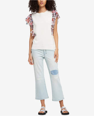 DKNY Ruffled Butterfly-Print Sweater, Created for Macy's
