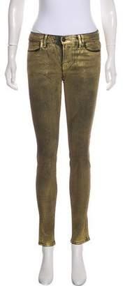 J Brand Metallic Mid-Rise Skinny Pants w/ Tags