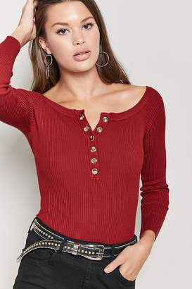 Forever 21 Ribbed Button-Front Bardot Bodysuit