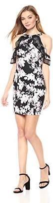 Bebe Women's Floral Printed Sheath Dress with Cold Shoulder Ruffle Sleeve