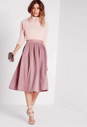 Missguided Satin Pleat Waistband Full Midi Skirt Mauve