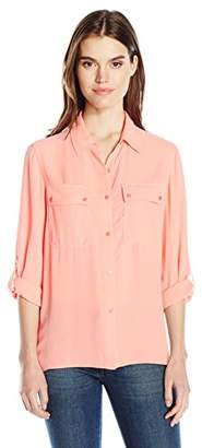 Jones New York Women's Pleated Back Button up with Rolled Sleeve