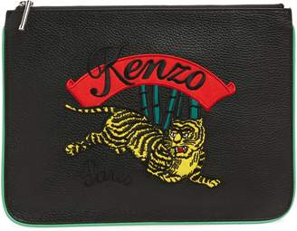Kenzo Leaping Tiger Leather A4 Pouch