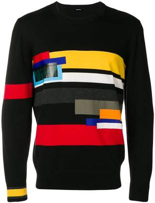 Diesel colour-block fitted sweater