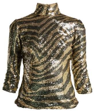 Dolce & Gabbana Sequin Zebra Pattern High Neck Top - Womens - Animal
