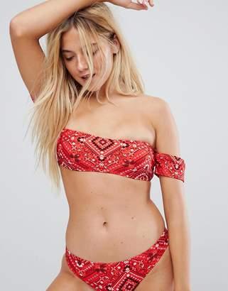 New Look Scarf Print Bardot Bikini Top