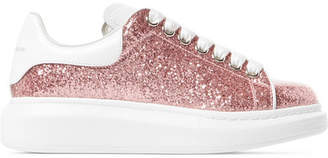 Alexander McQueen Glittered Leather Exaggerated-sole Sneakers - Baby pink