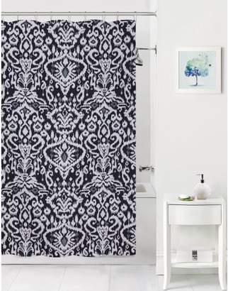 Mainstays Modern Ikat Black and White Fabric Shower Curtain