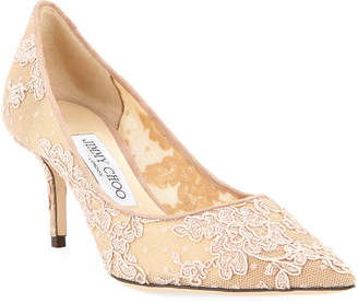 Jimmy Choo Love Embroidered Mesh Pumps, Pink