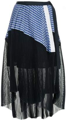 Sacai asymmetric pleated skirt