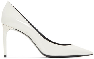 Saint Laurent White Patent Zoe Heels
