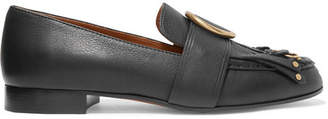 Chloé Olly Fringed Embellished Textured-leather Loafers - Black