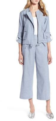 Halogen Linen Blend Chambray Tie Waist Jacket (Regular & Petite)