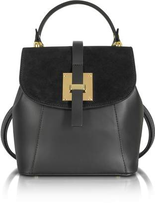 Le Parmentier Palazia Black Suede and Leather Small Backpack