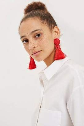 Topshop Red Bead and Tassel Drop Earrings
