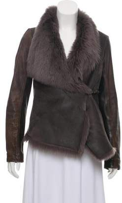 AllSaints Shearling Distressed Jacket