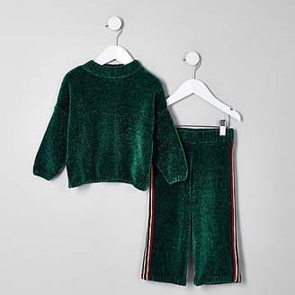 River Island Mini girls green knit batwing sweater set