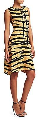 Proenza Schouler Women's Tiger-Print Tiered Drawstring Dress
