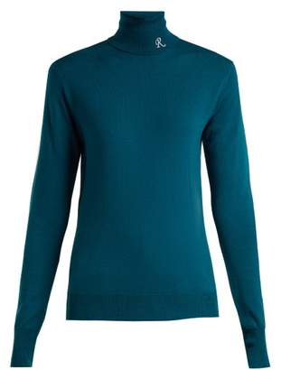 Raf Simons Roll Neck Merino Wool Blend Sweater - Womens - Dark Blue