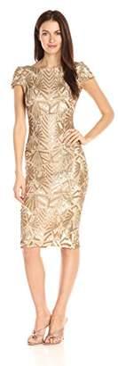 Dress the Population Women's Marcella Cap Sleeve Scoop Back Sequin Midi Dress