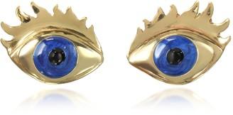 Bernard Delettrez Blue Enamel Eye Bronze Earrings