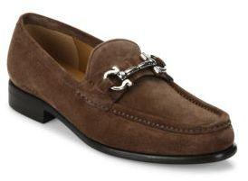 Salvatore Ferragamo Mason Gancio Suede Loafers $550 thestylecure.com