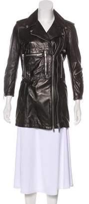 R 13 Notch Lapel Leather Jacket