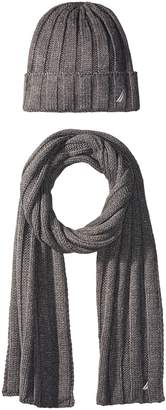 Nautica Men's Solid Ribbed Cuff Hat and Scarf Set