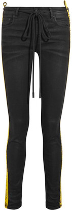 Off-White - Strap Coated Mid-rise Skinny Jeans - Black $630 thestylecure.com