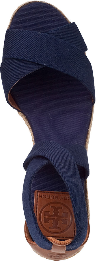 Tory Burch Adonis Wedge Espadrille Navy Fabric