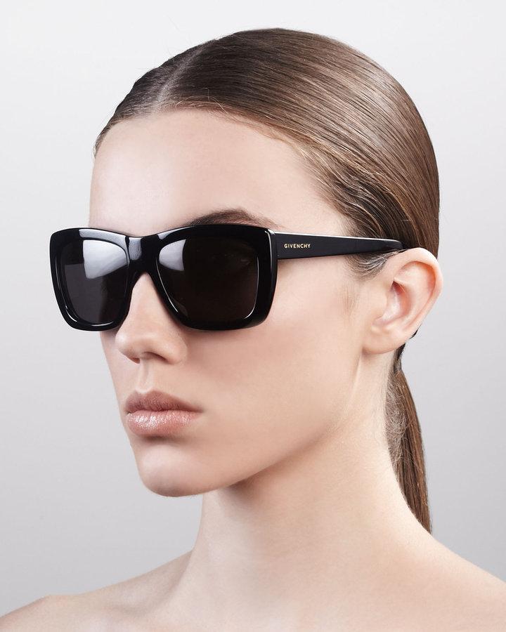 Givenchy Oversized Square Sunglasses, Shiny Black