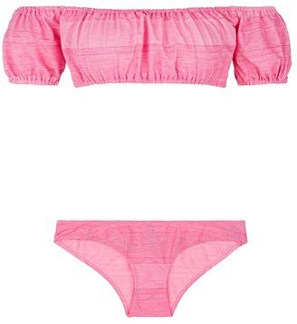 'Leandra' stripe off-shoulder bikini set