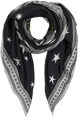 Moschino Space Teddy Bear Black Printed Silk Square Scarf