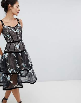 Bronx And Banco Caged Midi Dress With Floral Embroidery