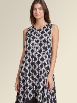 DKNY Sleeveless Batik-Print Trapeze Dress